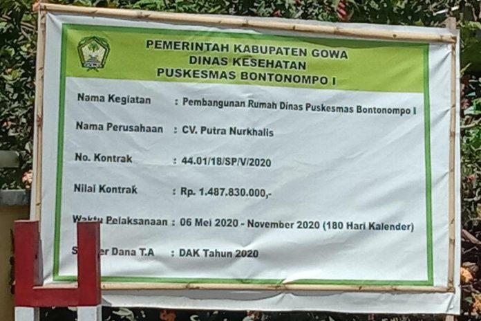 Legalitas Perusahaan Pemenang Berkontrak Pembangunan Rumah Dinas Puskesmas Bontonompo 1 Menuai Tanda Tanya