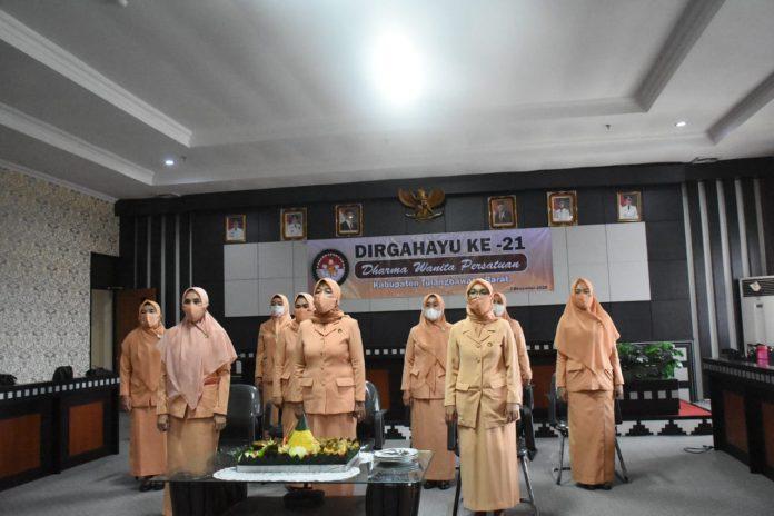 Novianti Novriwan Jaya bersama Wakil Ketua TP-PKK Ny. Devi Fauzi Ikuti kegiatan Vicon Hari Ulang Tahun ke-21