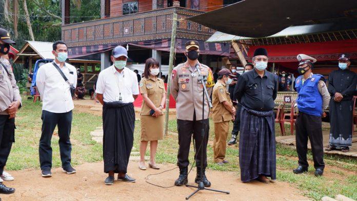 Kapolres Tana Toraja bersama Satgas Covid -19 Hentikan Pesta Rambu Solo di Sangalla Selatan dan Sangalla Utara