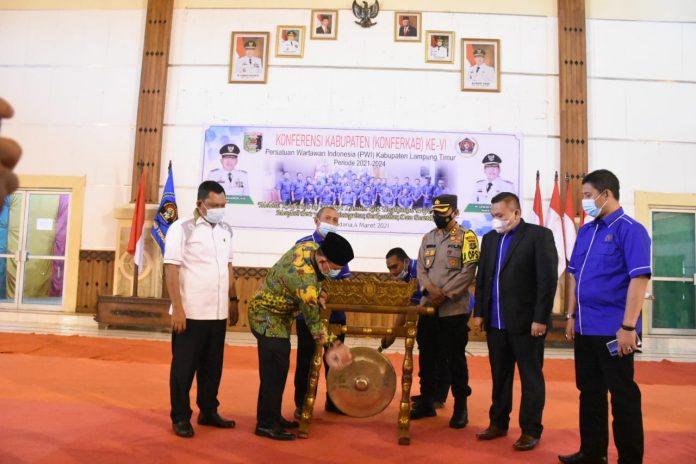 Bupati Buka Acara Konferensi PWI Kabupaten Lampung Timur ke VI Prioede 2021-2024