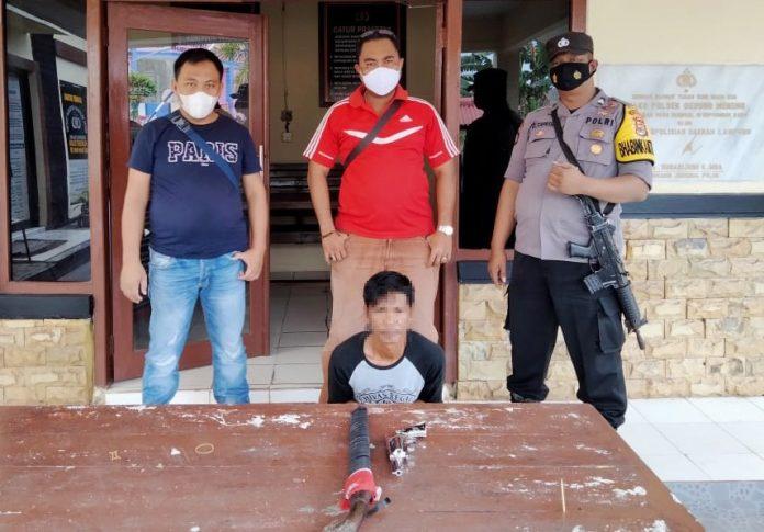 Tembak Istri Sendiri Pakai Senpi, Pria 38 Tahun Ditangkap Polsek Dente Teladas