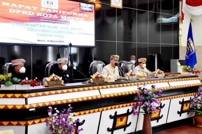 DPRD Metro Gelar Rapat Paripurna Hut Ke- 57 Provinsi Lampung