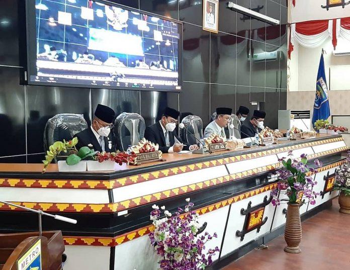 DPRD Metro Lampung Gelar Rapat Paripurna Penyampaian SK Tentang LKPJ Walikota TA 2020