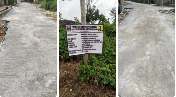 Warga Pekon Rawas Kecewa Pembangunan Jalan Rabat Beton oleh CV. Eka Wijaya