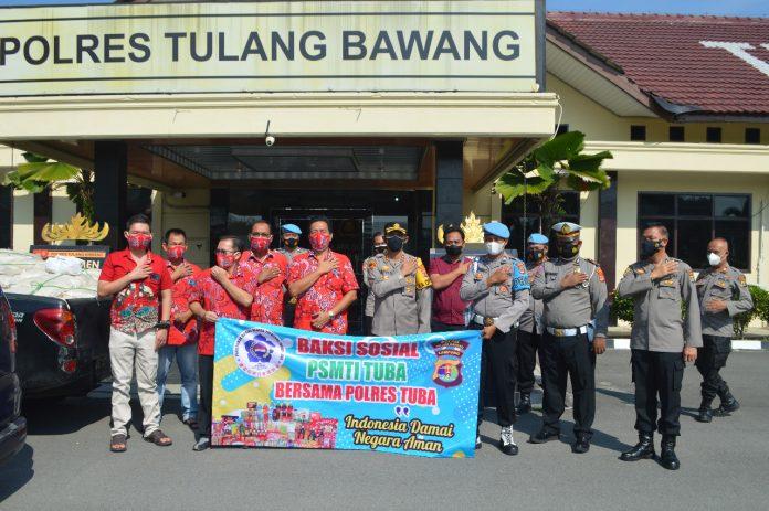 Polres Tulang Bawang Terima Bansos 500 Paket Sembako Dari PSMTI